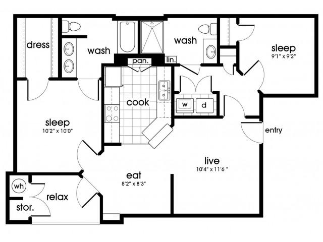B1 Floorplan for Parkway Senior Apartments in Pasadena TX