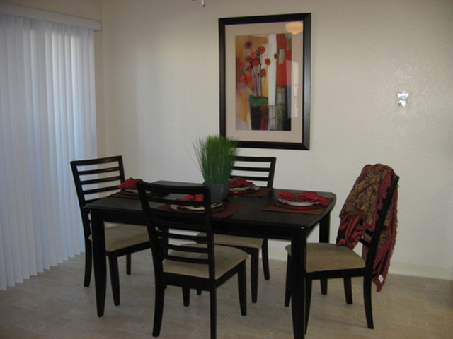 Model dining room at Riverstone Apartment Homes in Antioch CA