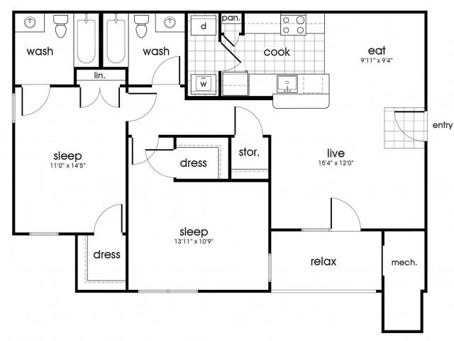 B2 Floorplan for Whispering Oaks in Portsmouth, VA
