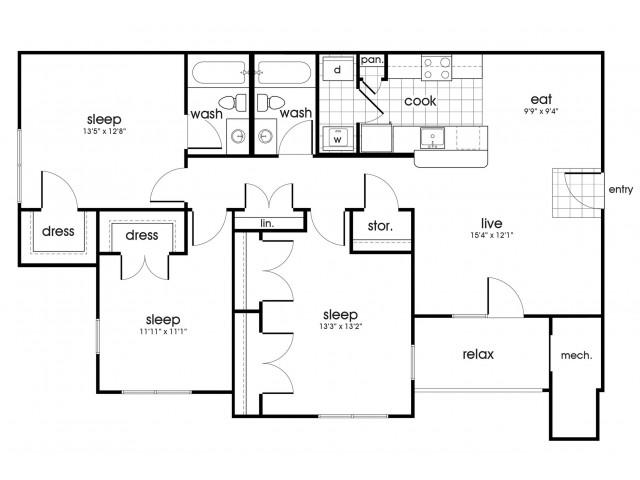 C1 Floorplan for Whispering Oaks in Portsmouth, VA