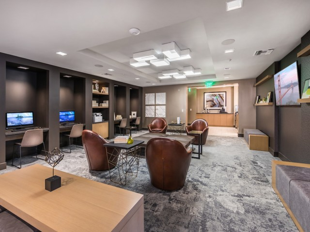 Co-working lounge at 808 West Apartments in San Jose CA