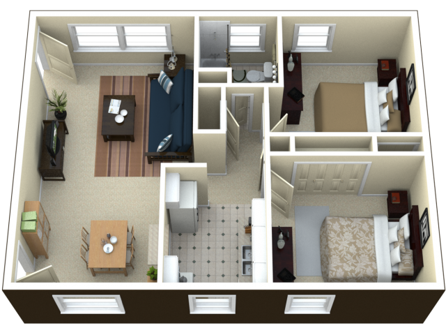 2 bed 1 bath apartment in royal oak mi arlington for 2 bedroom apartments plans