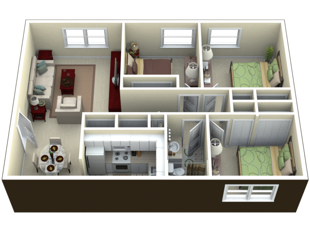 1 3 bed apartments oakwood villa apartments for 3 bedroom 2 bath garage apartment plans