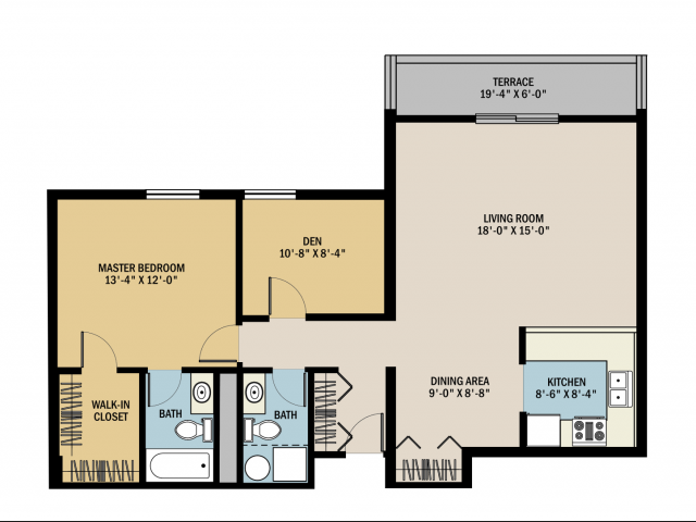1 bed 1 5 bath apartment in grand rapids mi viewpointe for Apartment floor plans 1 bedroom with den