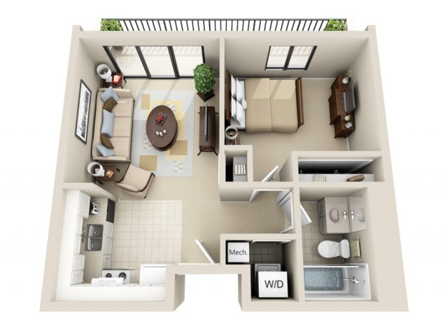 for the 1 Bedroom Studio floor plan  Bed Bath Apartment in GRAND RAPIDS MI Viewpointe Apartments