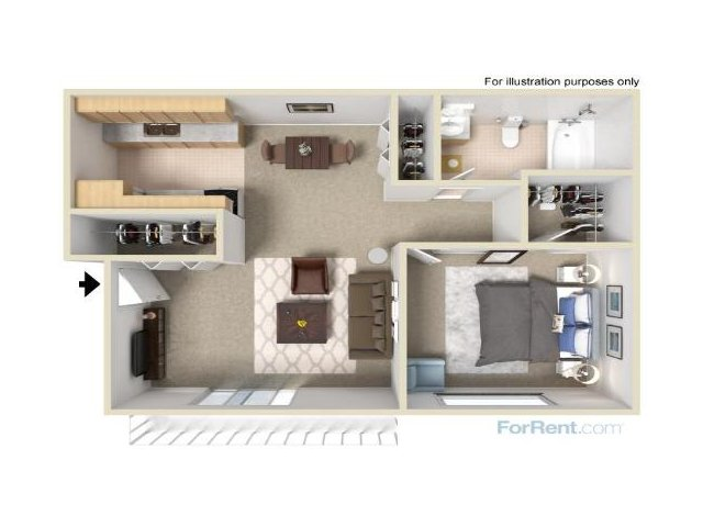 For The 1 Bedroom Apartment Floor Plan.