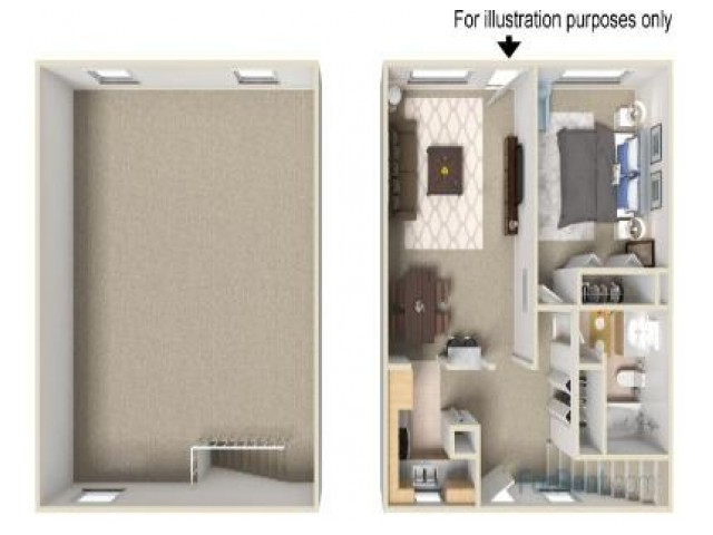 1 Bed Townhouse Floorplan