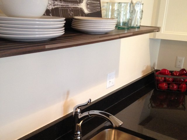 Image of Exposed Wood Shelving in Kitchen for The Albert