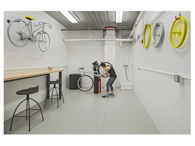 Image of Bike Parking, Storage, and Repair Station for The Scott at Brush Park