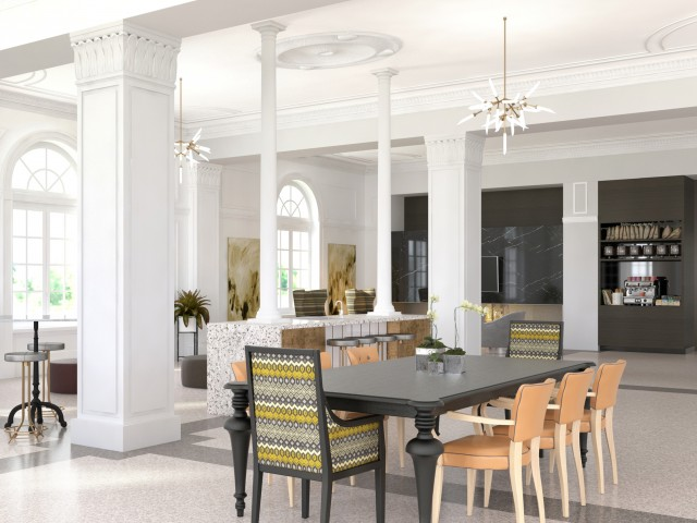 Image of Community Lounge with Kitchen, Coffee Station, Pool Table, and TV for The Hamilton Midtown Detroit