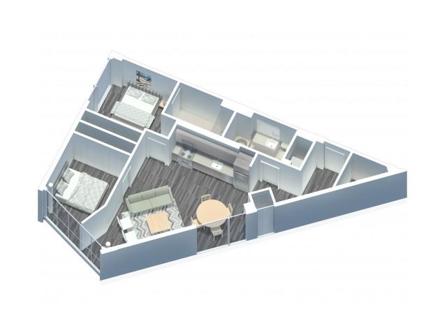 2 Bedroom 2 Bathroom floor plan with in unit washer and dryer