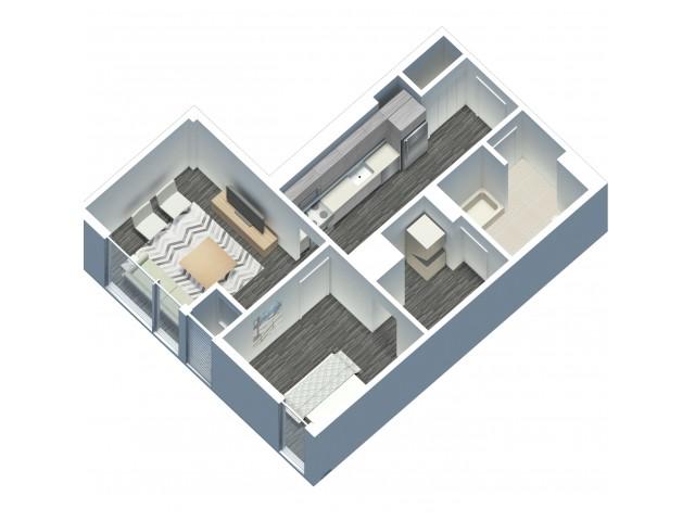 1 Bedroom 1 Bathroom floor plan with in unit laundry