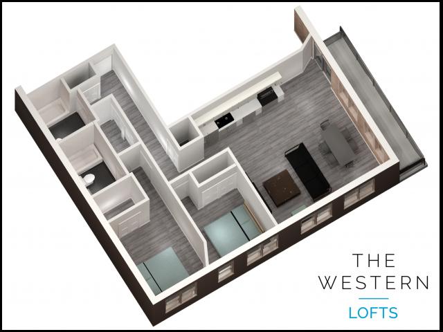 2 bedroom 2 bathroom floor plan at The Western