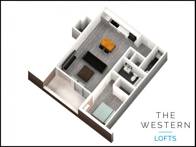 1 bedroom 1.5 bathroom floor plan at The Western
