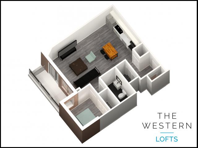 1 bedroom 1 bathroom floor plan at The Western