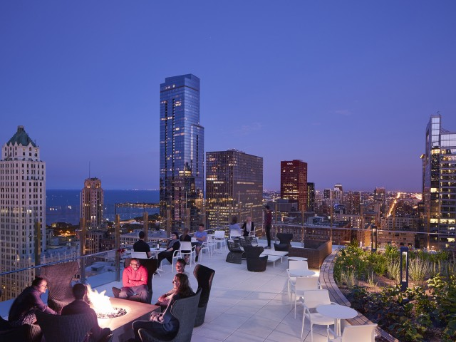 Roof top terrace with views of The Loop