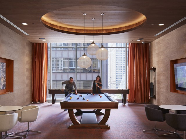Game room with view of The Chicago Loop