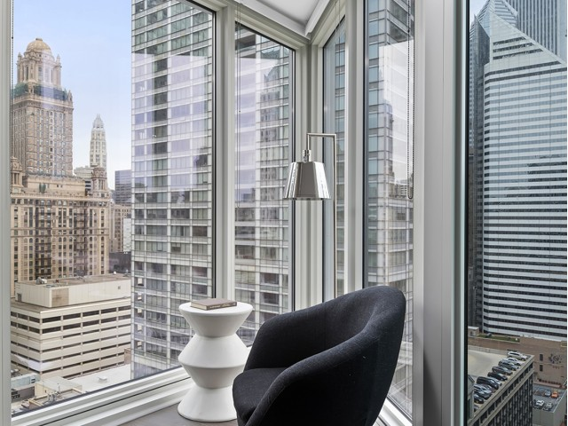 City views from floor to ceiling windows