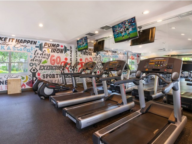 The Palms, interior, fitness center, windows, tvs, treadmills