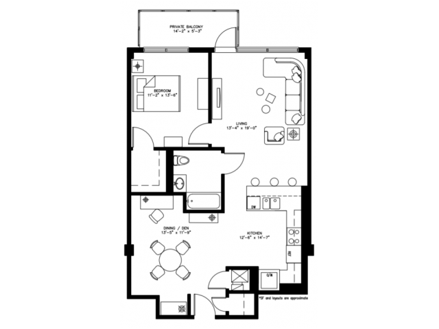 1 Bed 1 Bath/Den - 937
