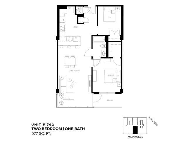 2 bed 1 bath - 977