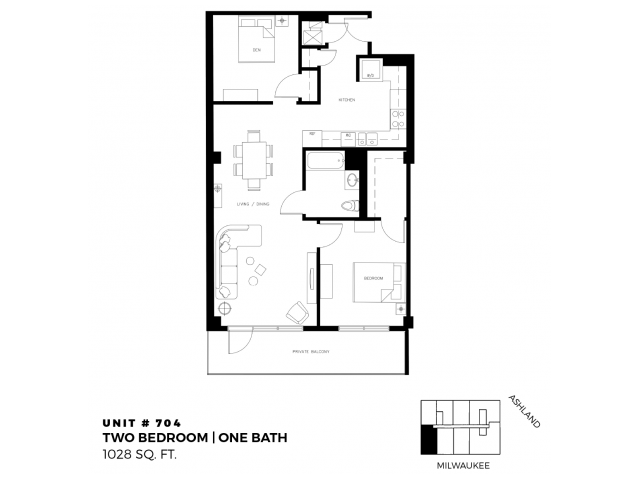 2 bed 1 bath - 1028