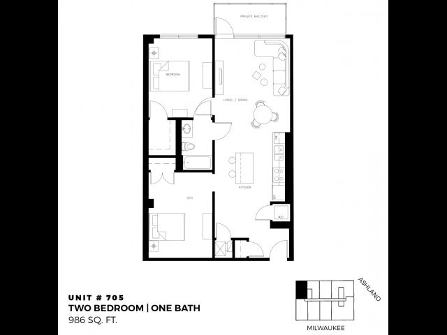2 Bed 1 Bath - 986