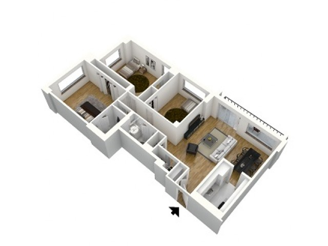 C2A - 3 Bedrooms 1250 sf
