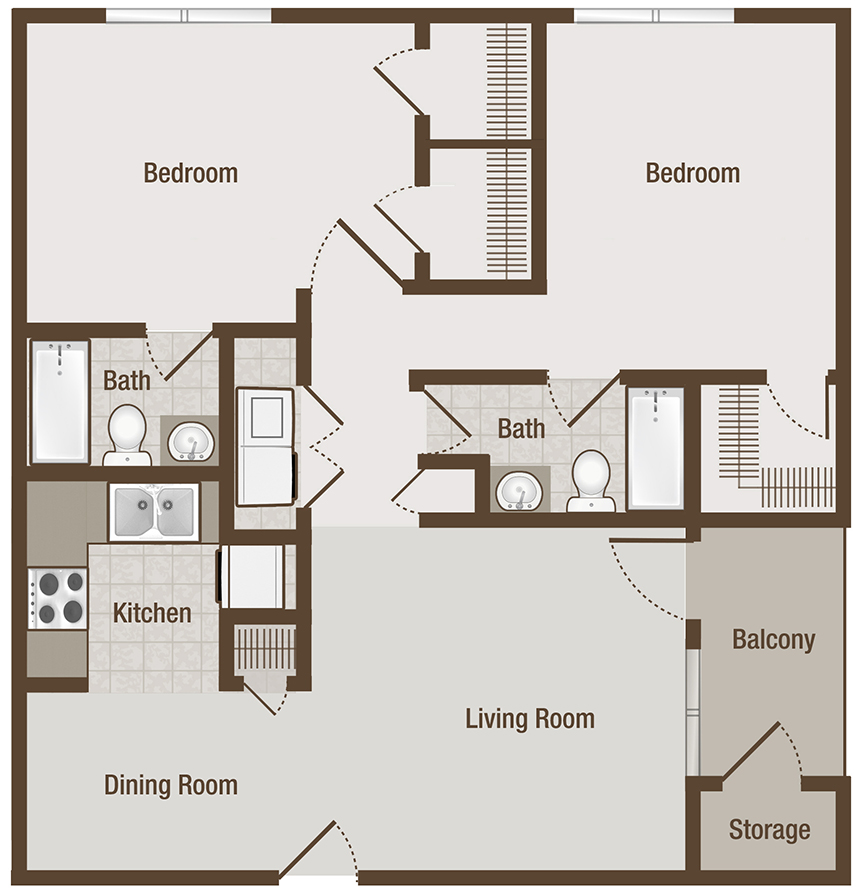 Picture is Cameron Two Bedroom Floor Plan