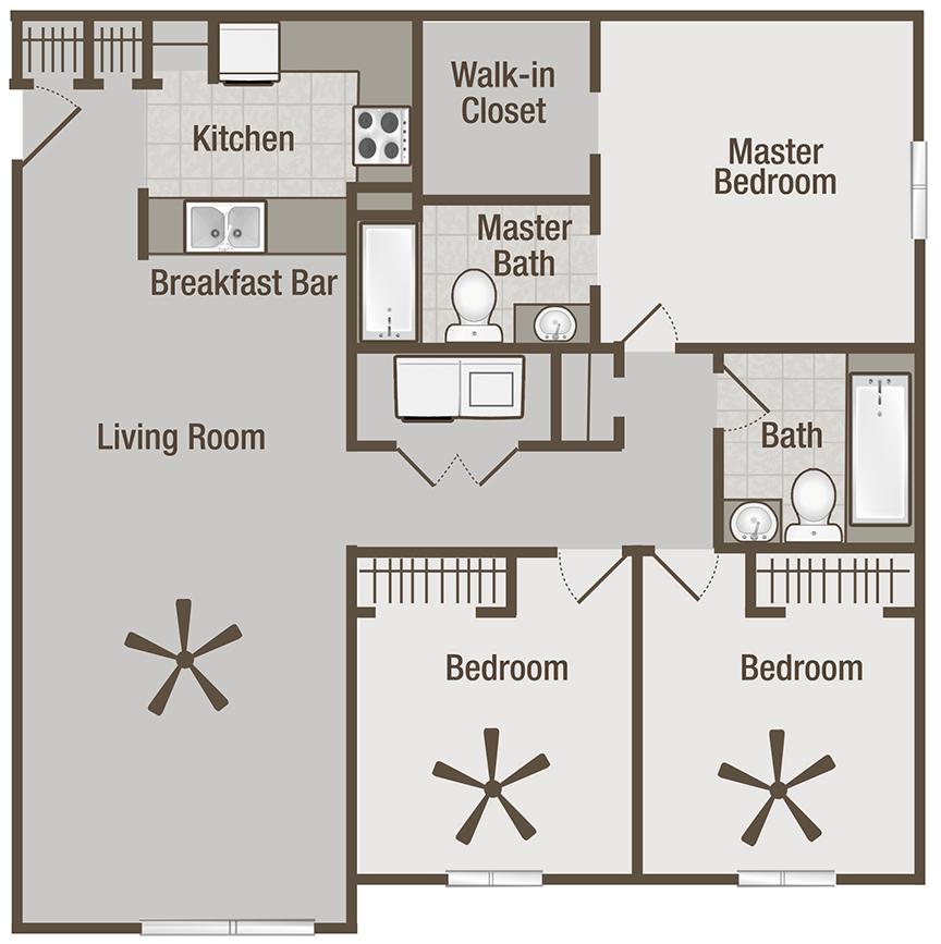 Picture is Lincoln Three Bedroom Floor Plan