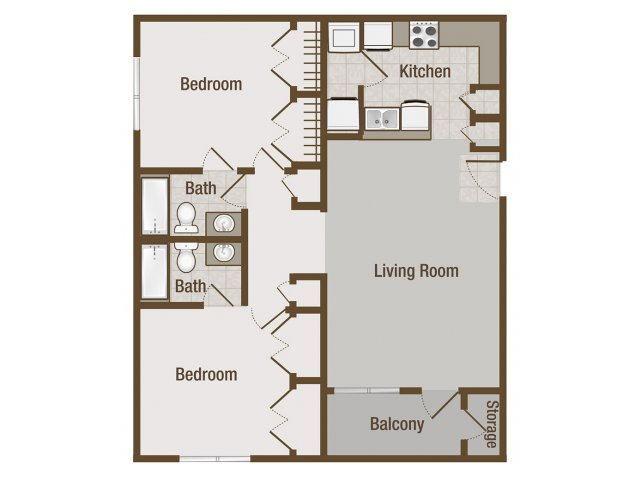 Picture is Chesnut Two Bedroom Floor Plan