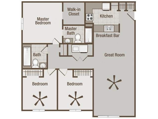 Picture is Lincoln Three Bedroom Floor Plan