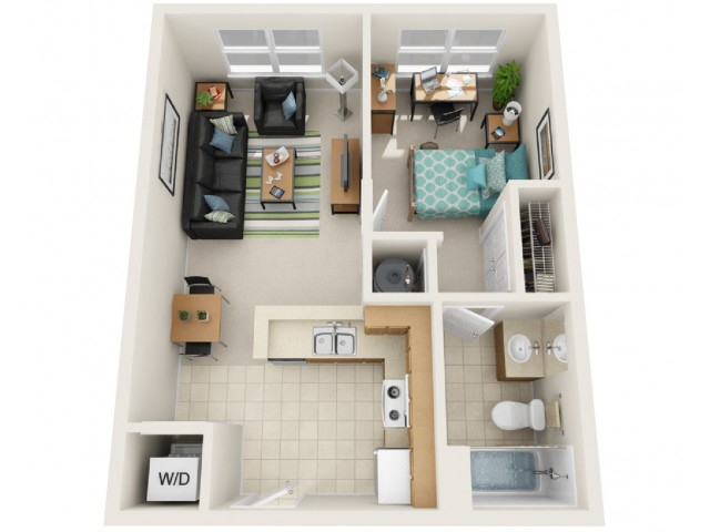 1 Bedroom Deluxe Floor Plan