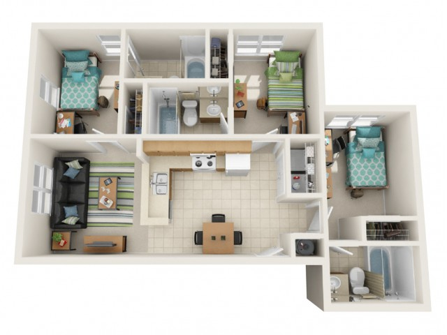 3 Bedroom Deluxe Floor Plan