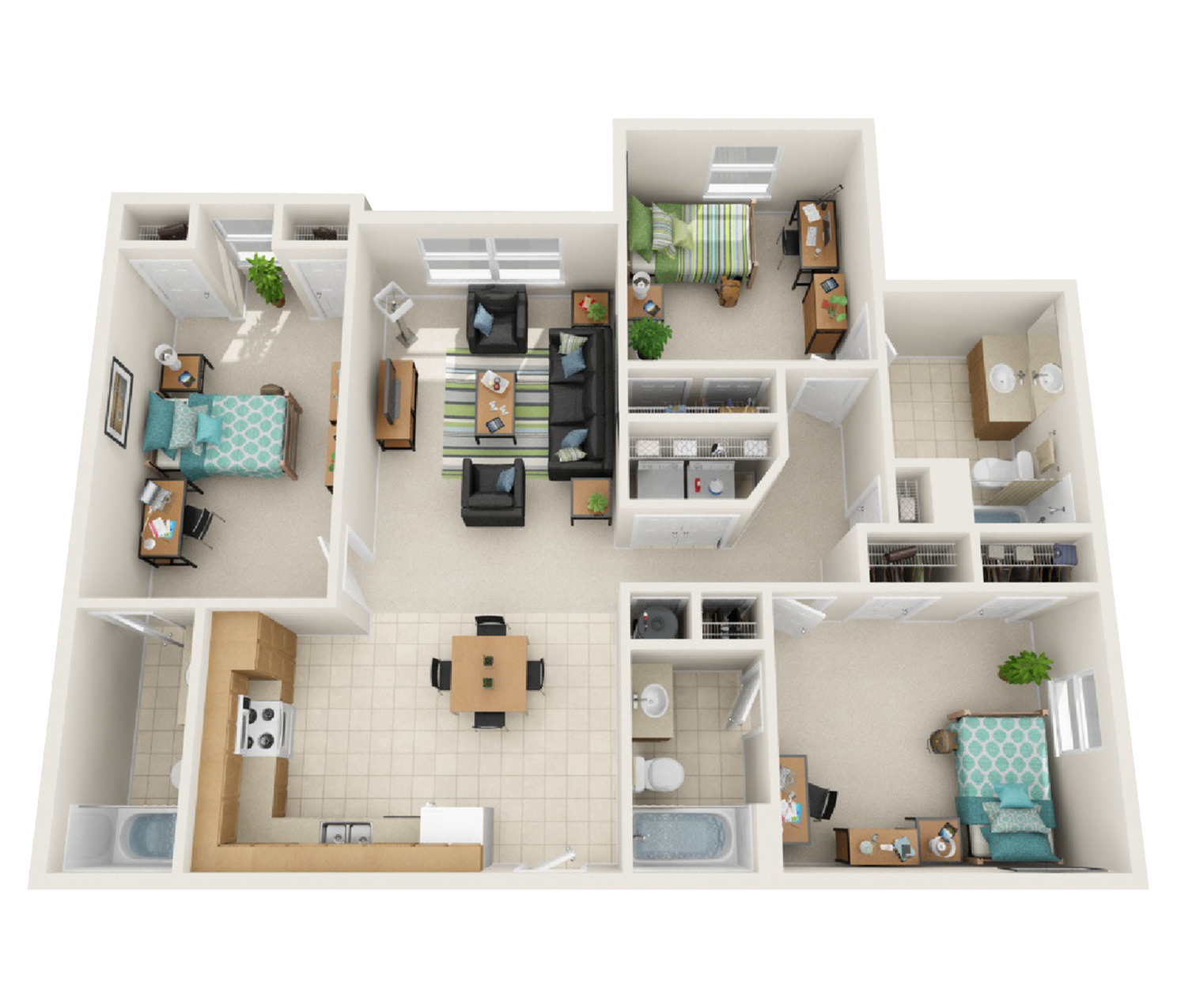 3 Bedroom Deluxe Floor Plan