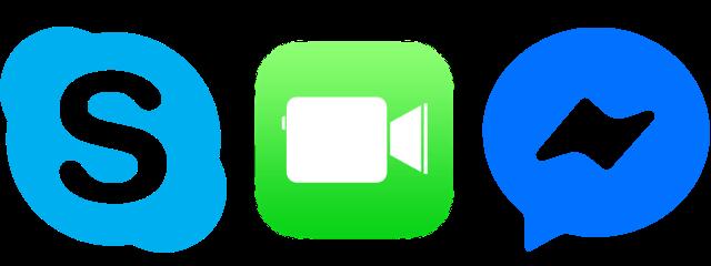 Skype FaceTime Messenger Logos