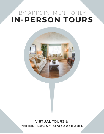We are excited to announce that we are now accepting appointments for in-person tours! Our professional team also remains available for all virtual tour options via video chat to provide as many accommodations as possible. We're ready to assist you with all your leasing needs, both virtually and in-person. Contact us today!