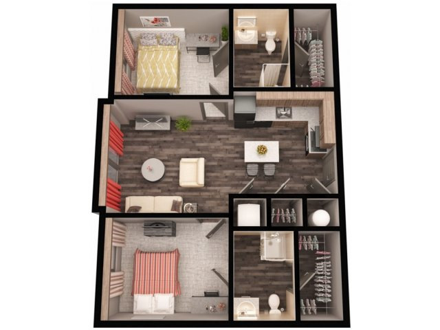 2 bedroom 2 bath apartment. for the East  2 Bedroom Bathroom Standard floor plan Bed Bath Apartment in BOISE ID The Vista