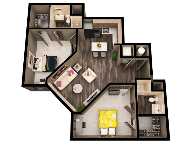 2 bedroom 2 bath apartment. for the West  2 Bedroom Bathroom Corner floor plan Bed Bath Apartment in BOISE ID The Vista