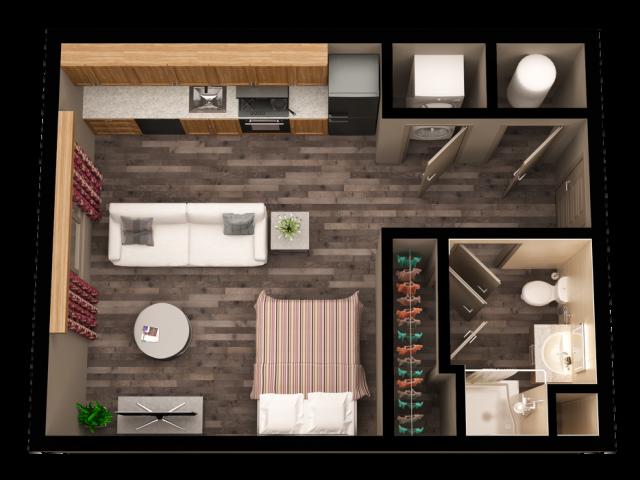 All Floor PlansWest   Studio S1. Studio   1 Bath Apartment in BOISE ID   The Vista