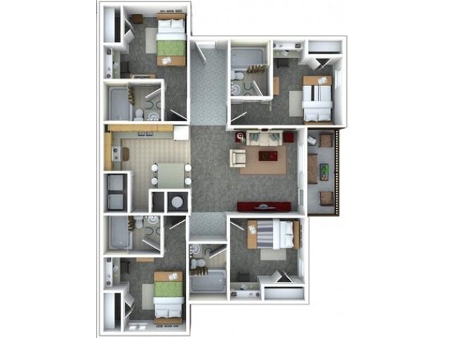 4 bed 4 bath spacious floor plan