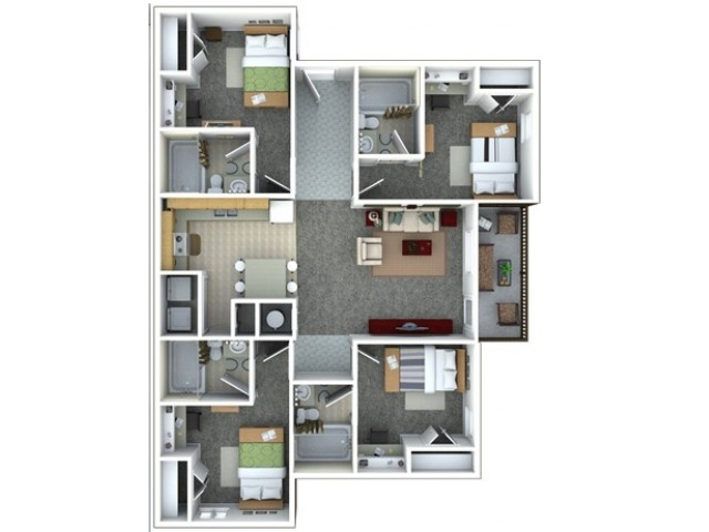 4 bed 4 bath furnished floor plan
