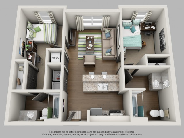 2 bedroom 2 bath floor plan