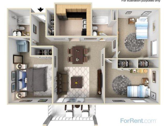C1 3x2 Bedroom