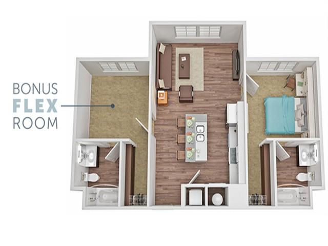 1 Bed / 2 Bath Flex Room