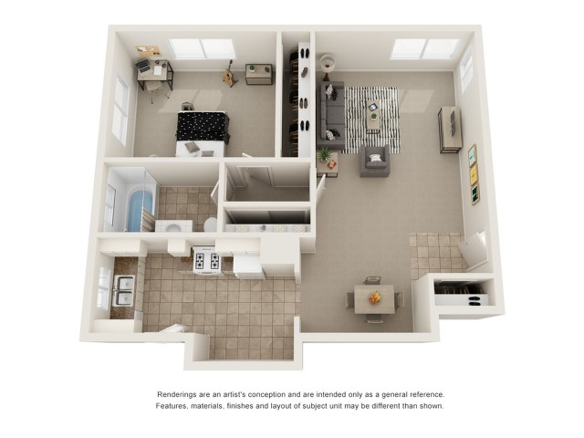 One bedroom one bath floor plan image showing open living room and dining room,. galley kitchen, one bathroom, and a spacious bedroom