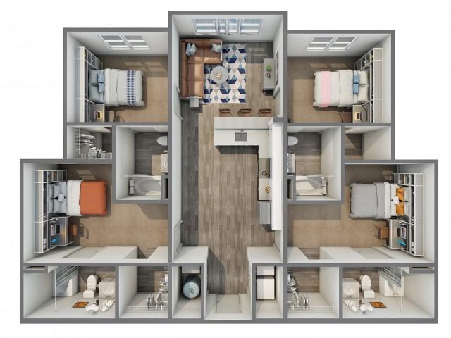 3D Floor Plan of 4x4A