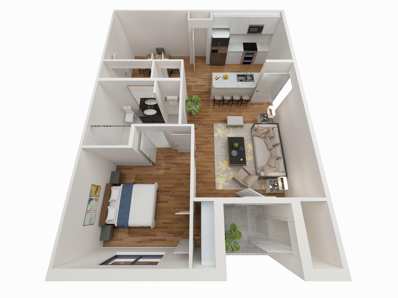 1 Bedroom Floor Plan - Avoca Apartments in Louisville, KY