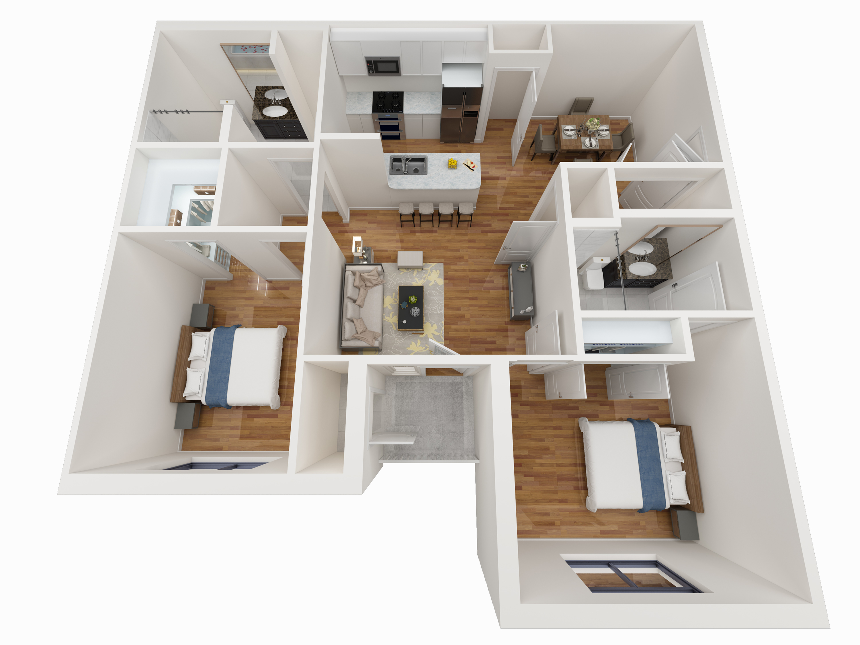 2 Bedroom Floor Plan - Avoca Apartments in Louisville, KY