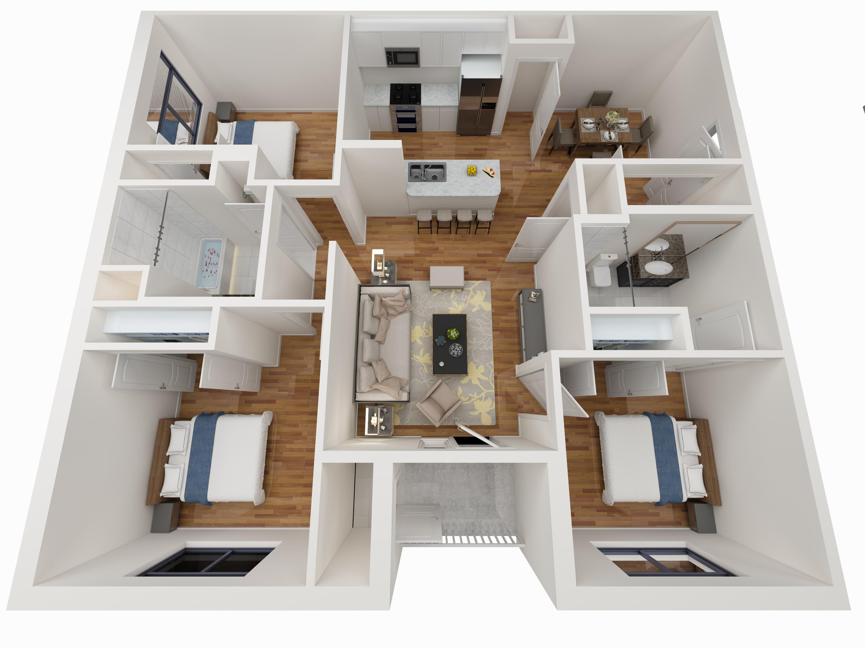 3 Bedroom Floor Plan - Avoca Apartments in Louisville, KY